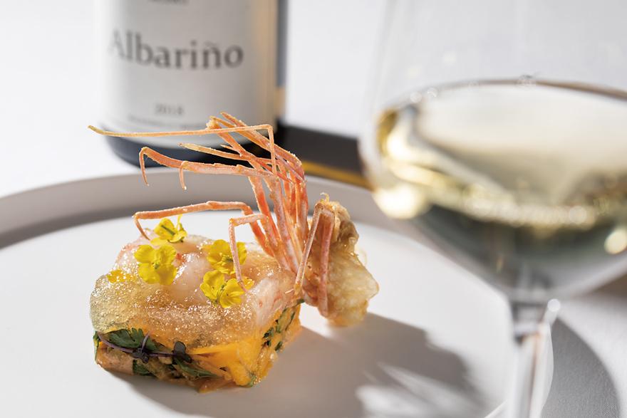 黄人参のシリシリボタン海老のクリスプとクリュ 柚子 ハーブティ