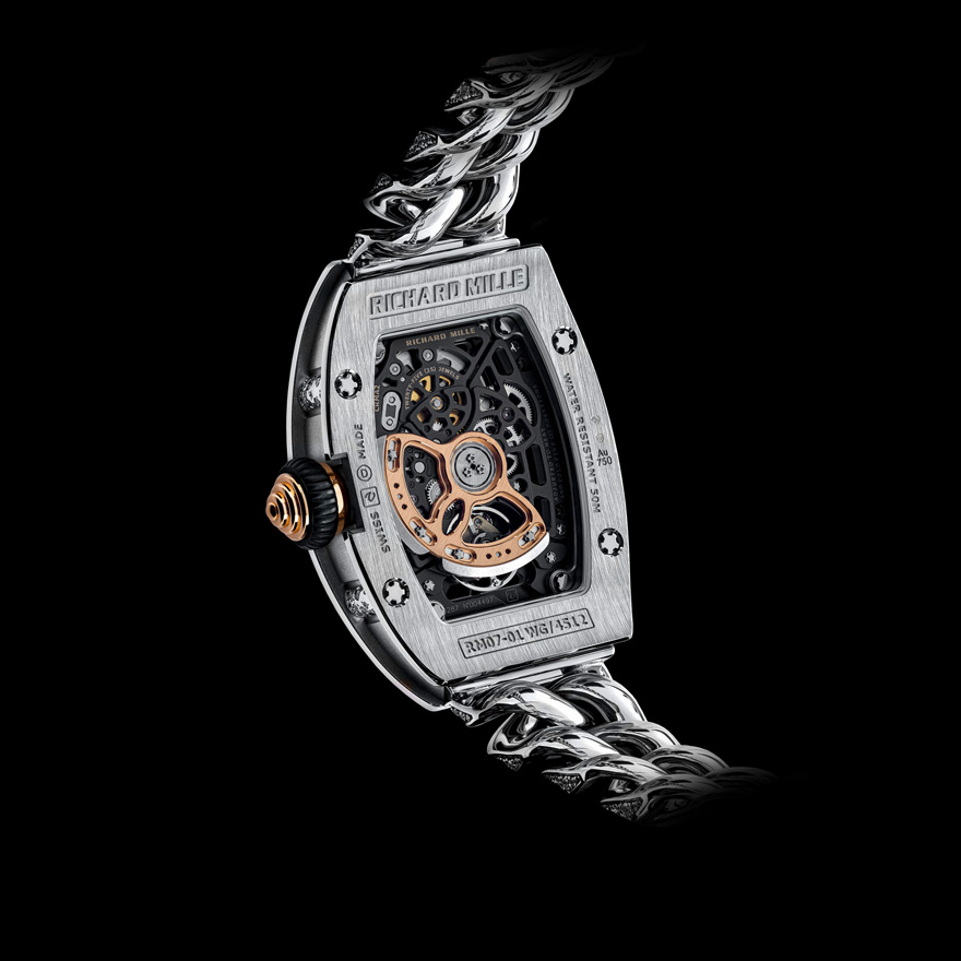 RM 07-01レディス オートマティック ホワイトゴールド スノーセットダイヤモンド